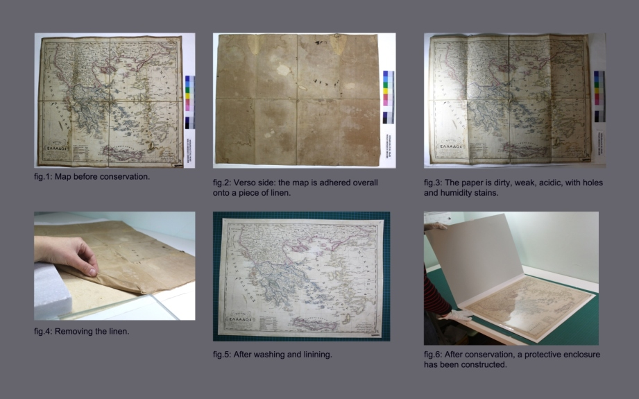 The conservation of a map of Greece, 1858.