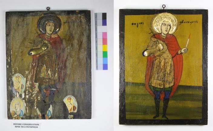 Άγιος Φανούριος, πριν και μετά τη συντήρηση. Saint Fanourios, before and after conservation.